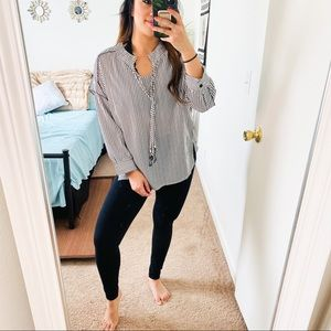 Amaryllis black and white striped long sleeve top